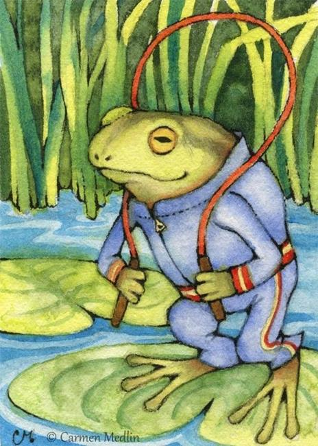 Art: Froggy Workout ACEO by Artist Carmen Medlin