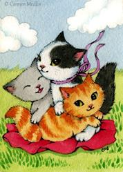 Art: Three Wee Kittens ACEO by Artist Carmen Medlin