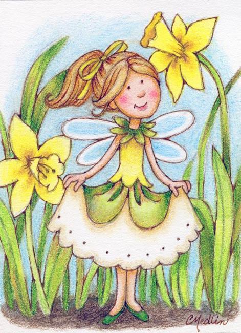 Art: Daffodil Fairy ACEO by Artist Carmen Medlin