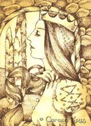 Art: A Queen ACEO by Artist Carmen Medlin