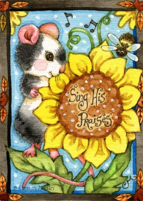 Art: Sing His Praises ACEO by Artist Carmen Medlin