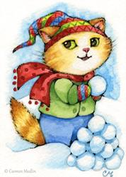 Art: Snowball Fight ACEO by Artist Carmen Medlin