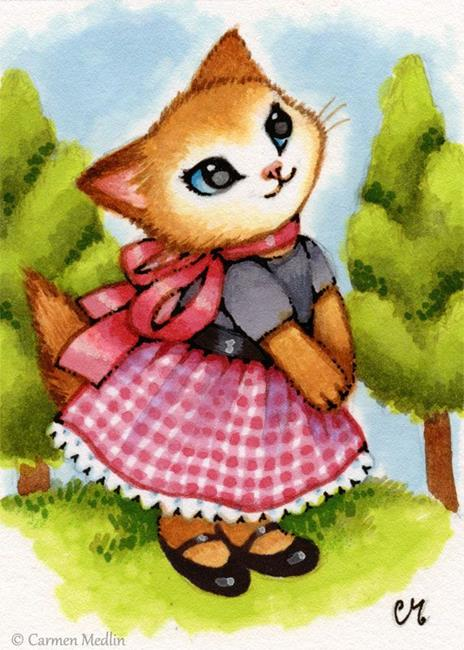 Art: Walk in the Countryside ACEO by Artist Carmen Medlin