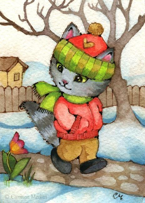 Art: Spring is Near ACEO by Artist Carmen Medlin