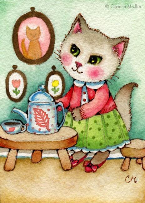 Art: Afternoon Tea ACEO by Artist Carmen Medlin