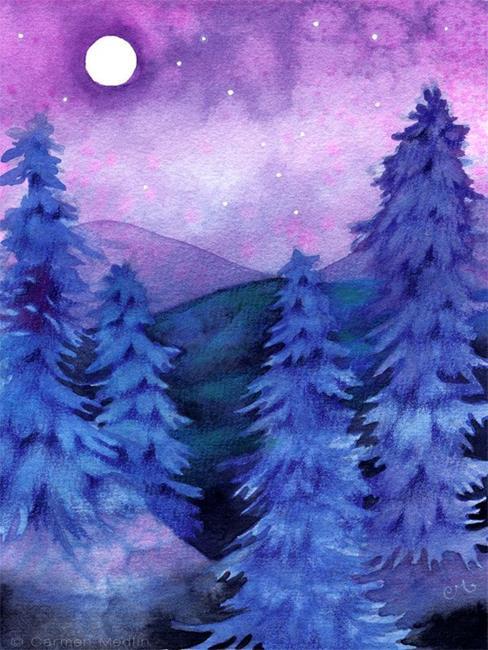 Art: Moonlit Forest by Artist Carmen Medlin