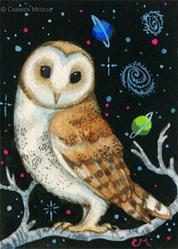 Art: Galactic Owl ACEO by Artist Carmen Medlin
