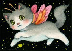 Art: Galactic Kitten ACEO by Artist Carmen Medlin