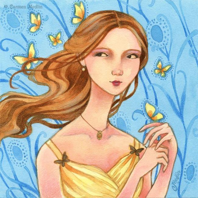 Art: Butterflies in Her Hair by Artist Carmen Medlin