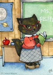 Art: First Day of School ACEO by Artist Carmen Medlin