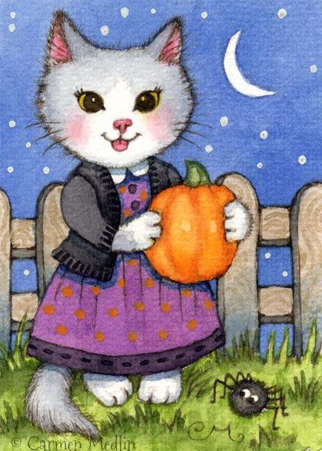 Art: Lottie's Pumpkin ACEO by Artist Carmen Medlin