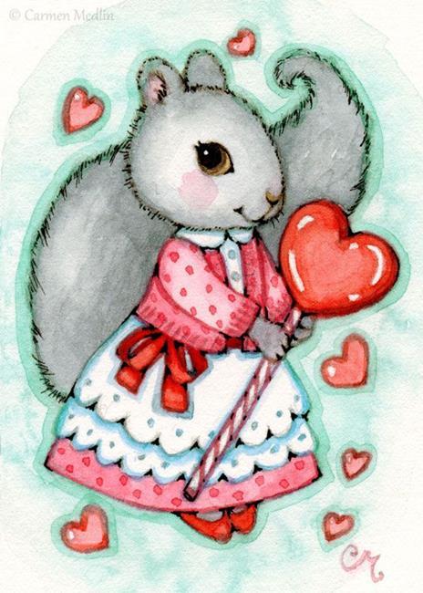 Art: Lollipop Valentine ACEO by Artist Carmen Medlin