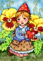 Art: Little Gnome Girl by Artist Carmen Medlin