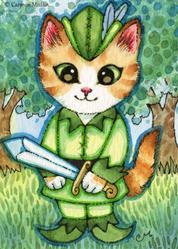 Art: Peter Pan Kitty ACEO by Artist Carmen Medlin