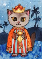 Art: Kitty Magi I ACEO by Artist Carmen Medlin