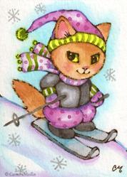 Art: Kitty Skiing ACEO by Carmen Medlin