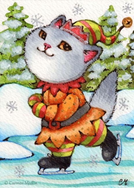 Art: Skating Kitty Elf ACEO by Artist Carmen Medlin