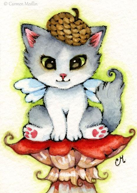 Art: Fairy Kitty ACEO by Artist Carmen Medlin