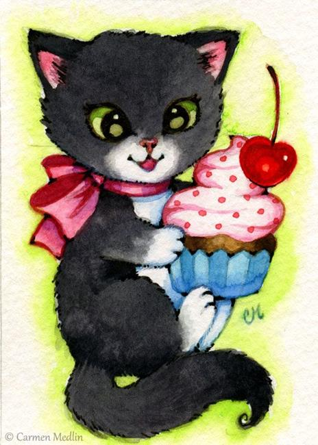 Art: Cupcake Kitten ACEO by Artist Carmen Medlin