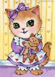 Art: Kitty's Doll ACEO by Carmen Medlin