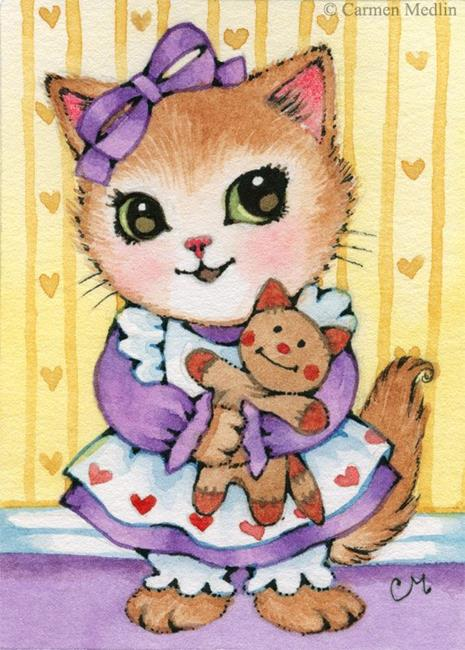 Art: Kitty's Doll ACEO by Artist Carmen Medlin