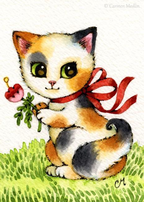 Art: Flower Picking ACEO by Artist Carmen Medlin