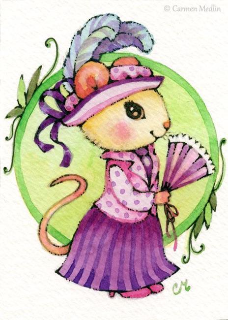 Art: Edwardian Lady Mouse ACEO by Artist Carmen Medlin