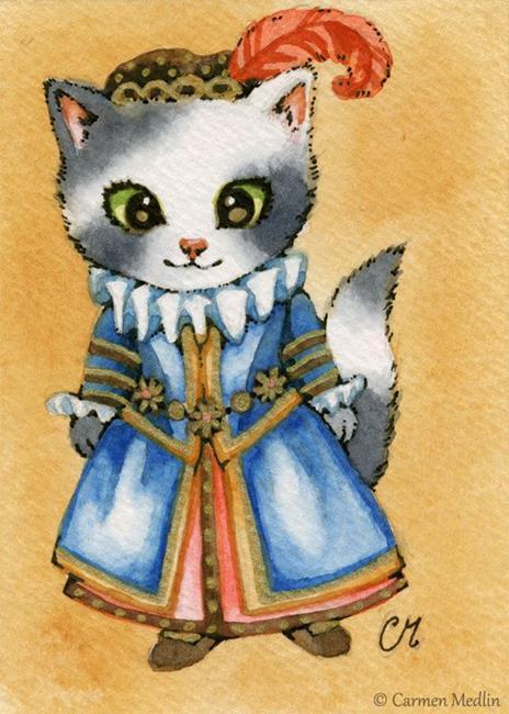 Art: Elizabethan Kitty ACEO by Artist Carmen Medlin