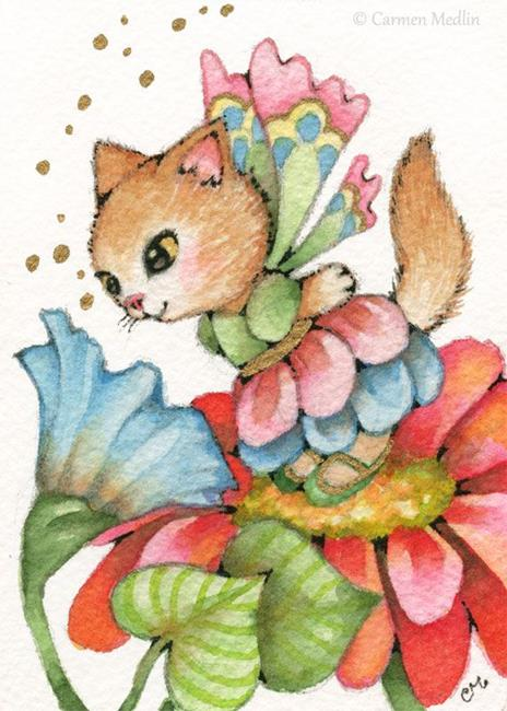 Art: Smell of Spring ACEO by Artist Carmen Medlin