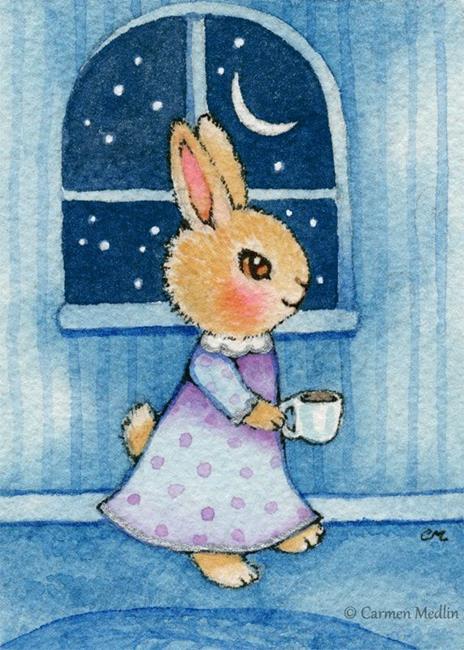 Art: Tea at Midnight ACEO by Artist Carmen Medlin
