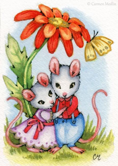 Art: Sweethearts ACEO by Artist Carmen Medlin