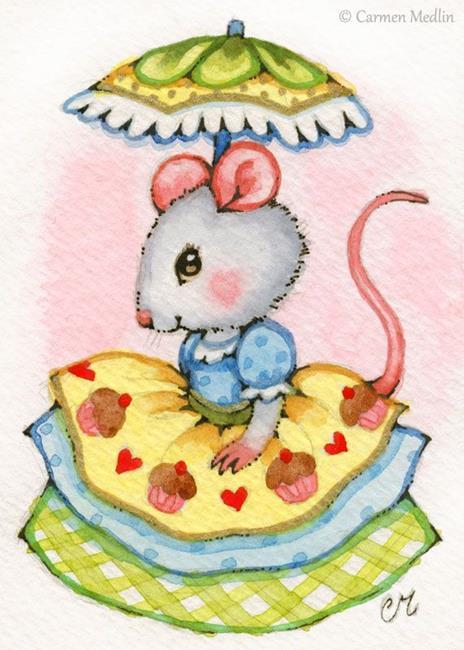 Art: Cupcake Belle ACEO by Artist Carmen Medlin