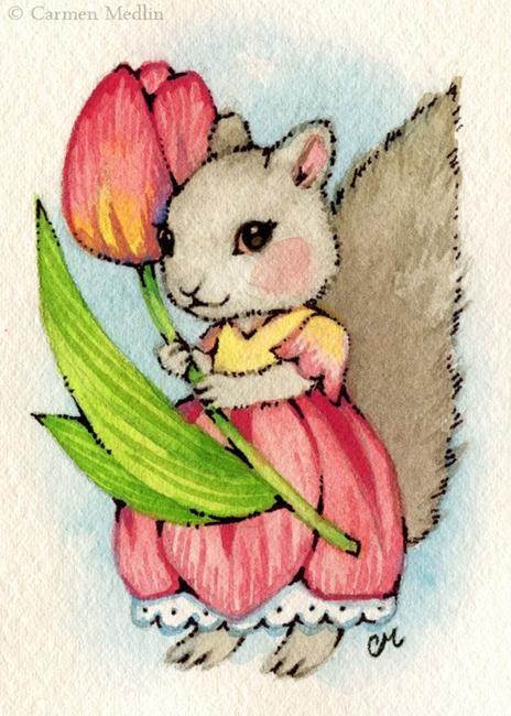 Art: Tulip Squirrel ACEO by Artist Carmen Medlin