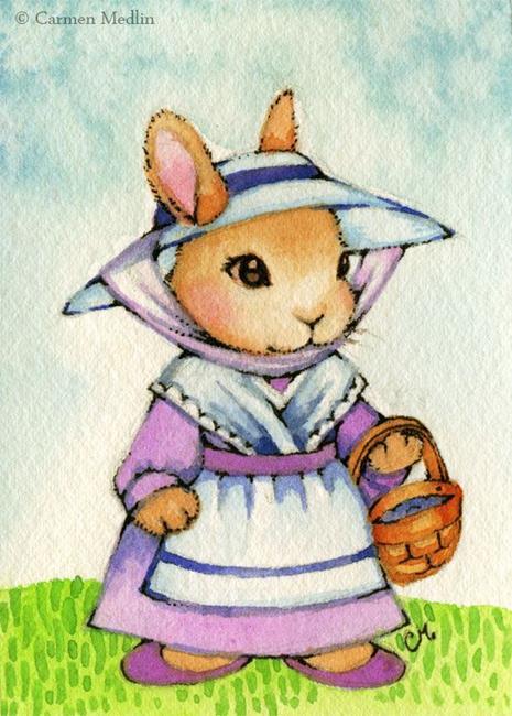 Art: Country Bunny ACEO by Artist Carmen Medlin