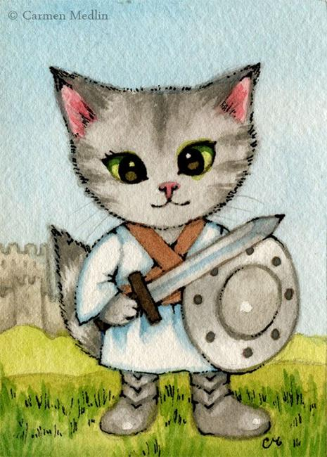 Art: Knight in Training ACEO by Artist Carmen Medlin