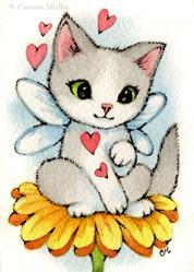 Art: Daisy Kitten ACEO by Artist Carmen Medlin