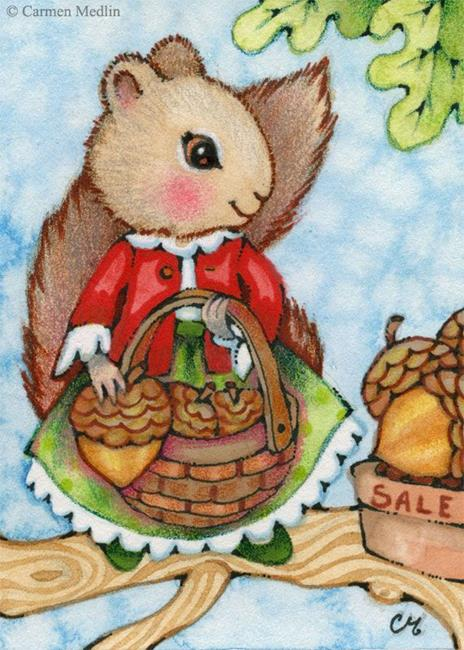 Art: Acorn Shopping ACEO by Artist Carmen Medlin