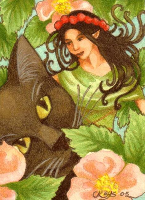 Art: Obsidian's Faerie Friend ACEO by Artist Carmen Medlin