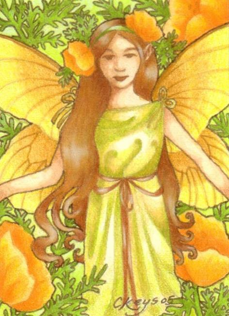 Art: Golden Poppies ACEO by Artist Carmen Medlin