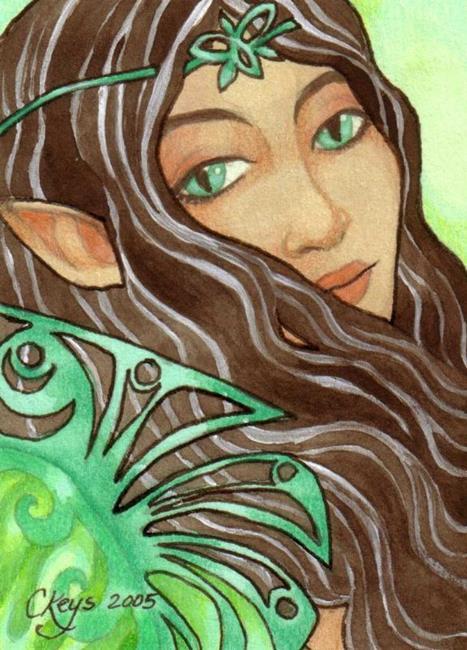 Art: Jade Beauty ACEO by Artist Carmen Medlin