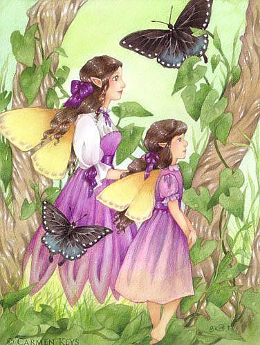 Art: Two Fairy Sisters by Artist Carmen Medlin