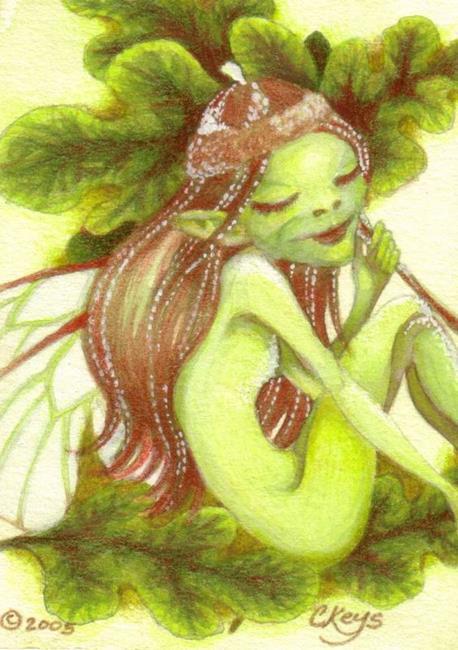 Art: Acorn Pixie ACEO by Artist Carmen Medlin