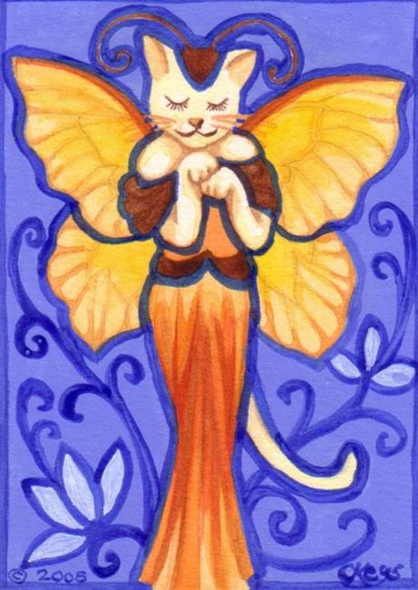 Art: Stained Glass Cat Fairy ACEO by Artist Carmen Medlin