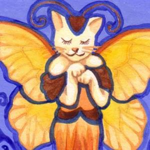 Detail Image for art Stained Glass Cat Fairy ACEO