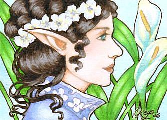 Art: Lady of Lilies ACEO by Artist Carmen Medlin