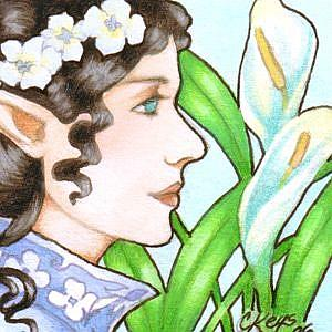 Detail Image for art Lady of Lilies ACEO