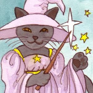 Detail Image for art Witchy Cat ACEO