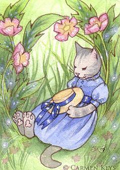 Art: Cat Nap ACEO by Artist Carmen Medlin