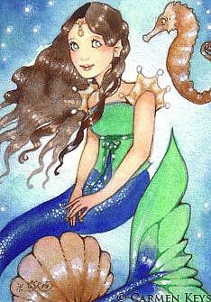 Art: Seahorse and Me - ACEO by Artist Carmen Medlin