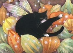 Art: Squash Cat ACEO by Artist Carmen Medlin